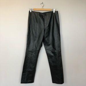 Nine West Vintage High Rise Leather Black Pants 8